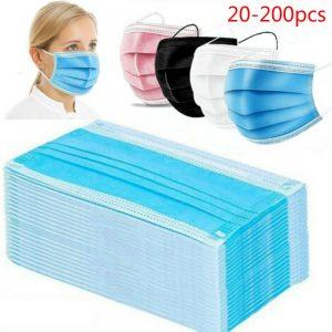 20-200 Pcs Mask Disposable Mondmasker Earloop Face Non-woven Melt Blown Three Layer